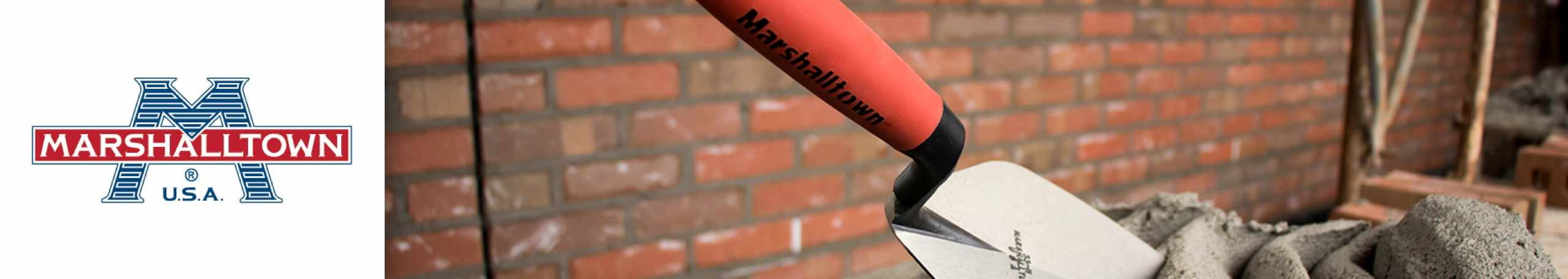 Marshalltown logo with Marshalltown cement tool
