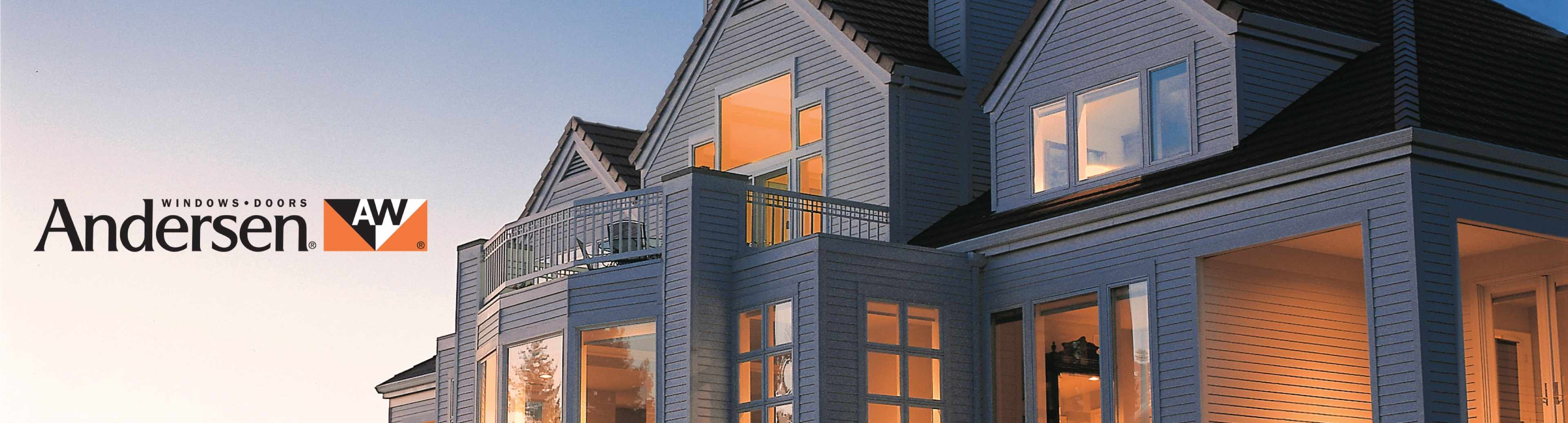 Anderson windows and doors on house at sunset with logo