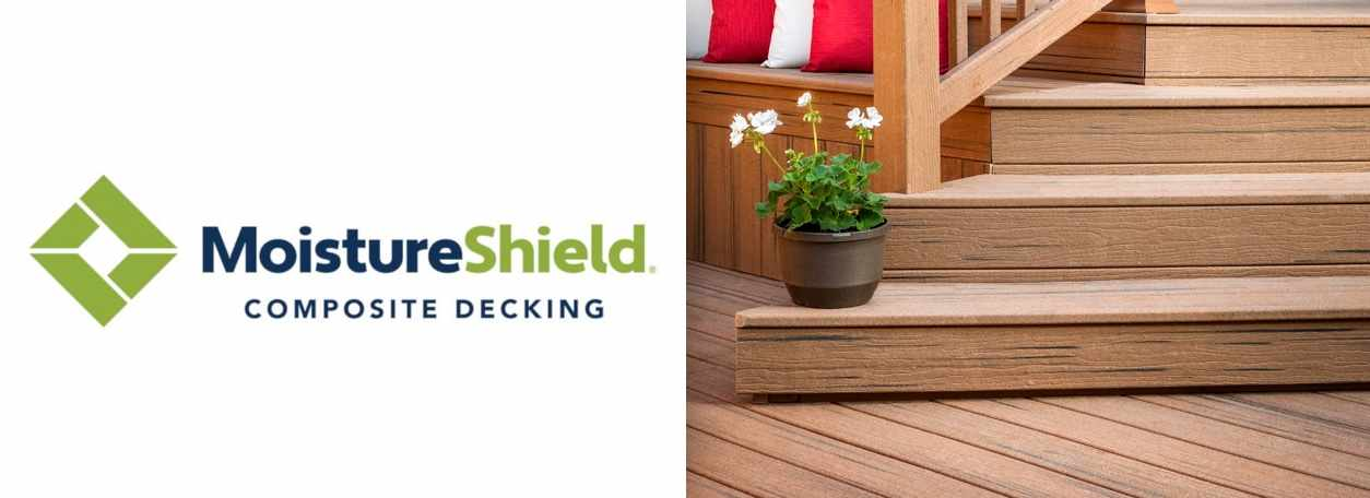 MoistureShield logo with composite decking and flowers