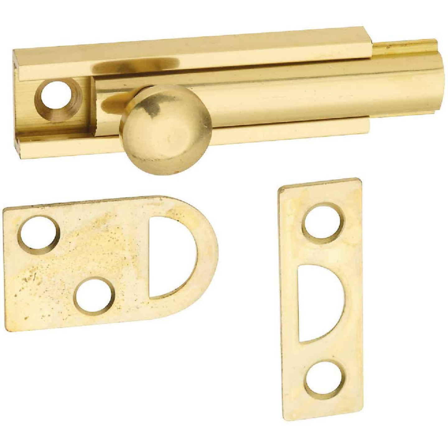 National Gallery Series 2 In. Polished Brass Door Surface Bolt Image 1