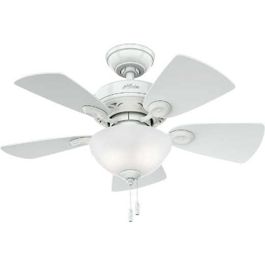 Hunter Watson 34 In. Snow White Ceiling Fan with Light Kit