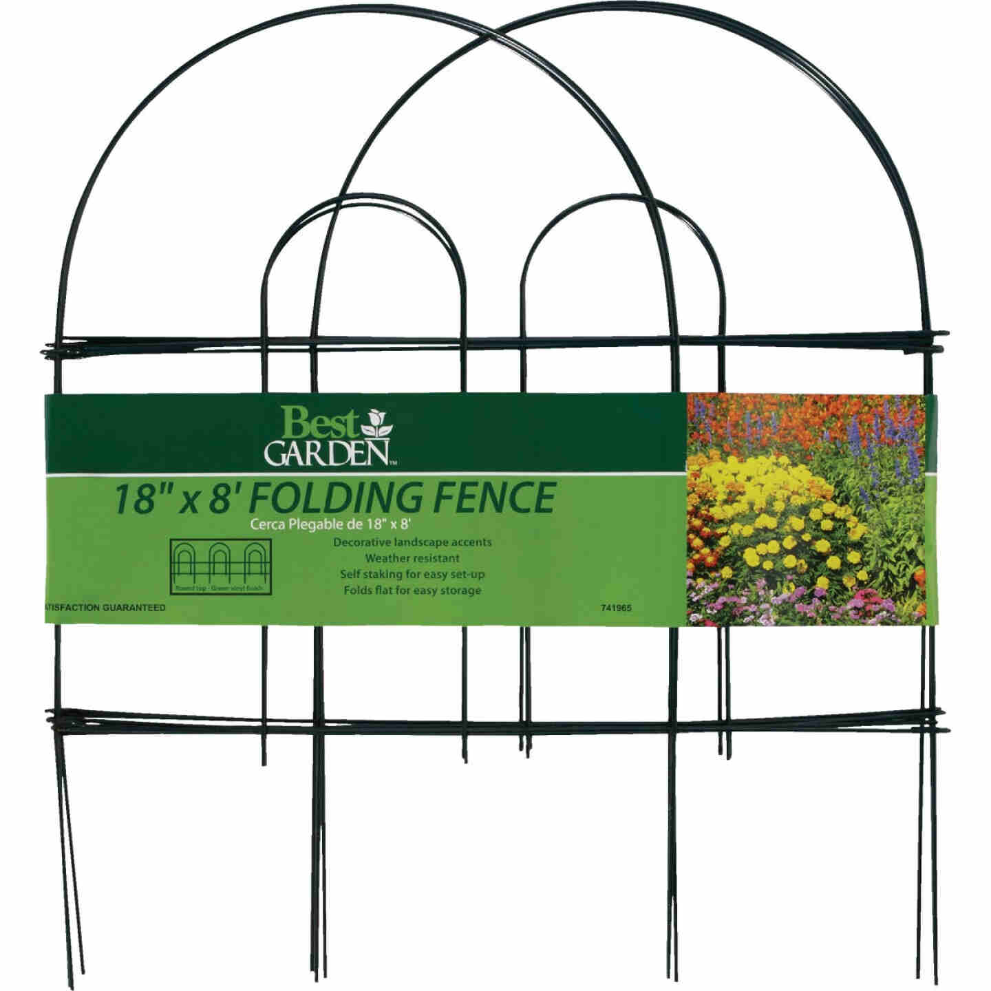 Best Garden 8 Ft. Powder-Coated Green Wire Folding Fence Image 3