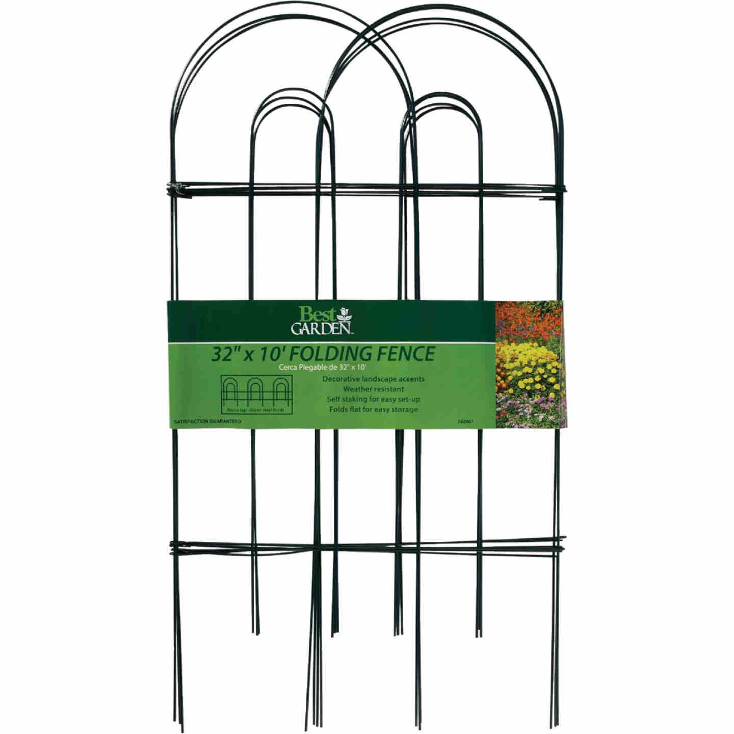 Best Garden 10 Ft. Powder-Coated Green Wire Folding Fence Image 2