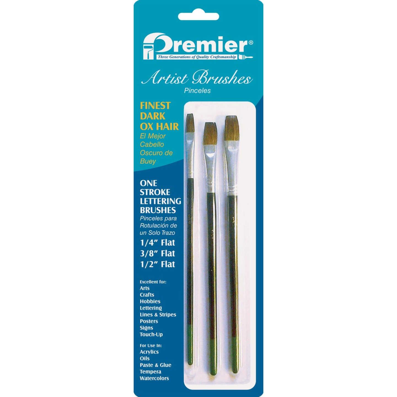 Premier Assorted Dark Ox Hair Artist Brushes (3 Pieces) Image 1