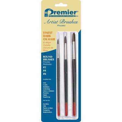 Premier Z-Pro Assorted Dark Ox Hair Round Artist Brushes (3 Pieces)